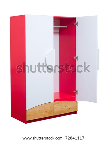 Wooden cabinet in red color for boy bedroom isolated on white  - stock photo