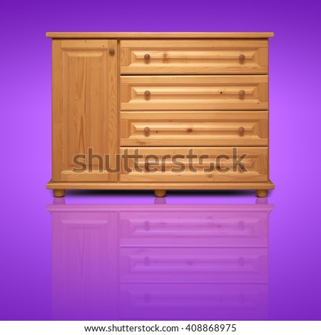 wooden cabinet isolated on background - stock photo