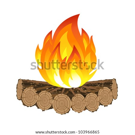 Wooden camp fire - stock photo