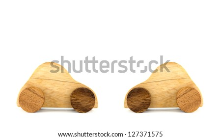 Wooden car toys isolated on white background