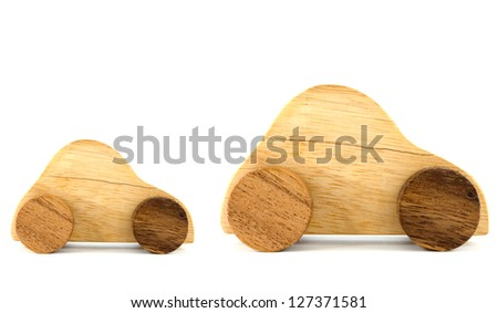 Wooden car toys isolated on white background - stock photo