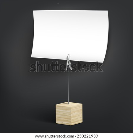 wooden card holder isolated on black background - stock photo