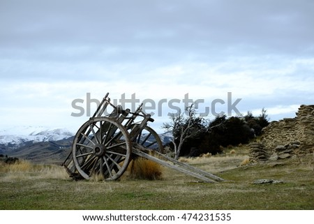 Wooden carriage in the field