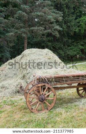 wooden cart with wheels and a fresh hay - stock photo
