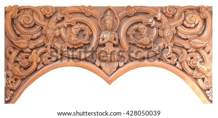 Wooden carving decorate for windows or  roof  in temple of  northern Thailand. Isolated on white background.           - stock photo