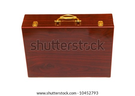 Wooden case isolated on the white background