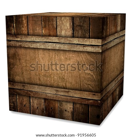 wooden case (isolated with clipping path) - stock photo