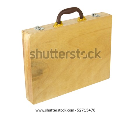 wooden case with leather handle isolated on white background
