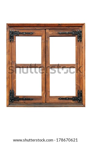 Wooden casement window  with decorative strap hinges isolated on white background - stock photo