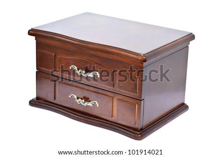 wooden casket for ornaments isolated on a white background
