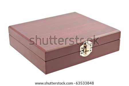 Wooden casket over white