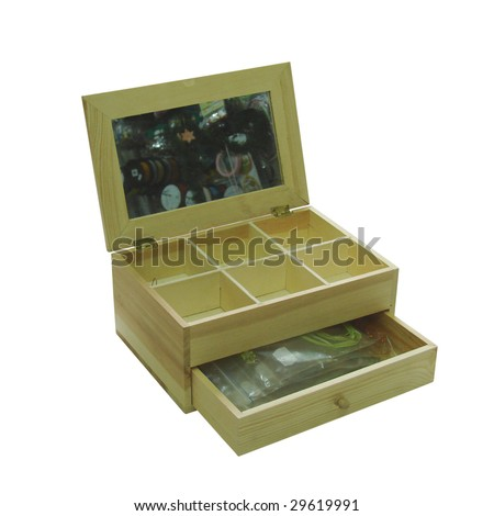 wooden casket with cells for jewelry on isolated white background - stock photo