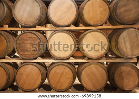 Wooden casks in a vinery stock - stock photo