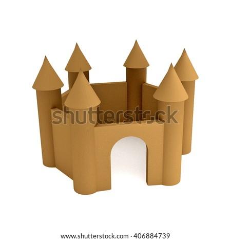 wooden castle - 3D illustration - stock photo