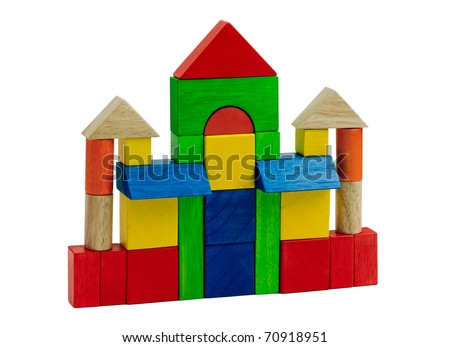 Wooden castle that creative wooden toy blocks for kids learning about separating color form and shape from toy, an image isolated on white
