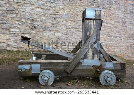 Wooden catapult - stock photo