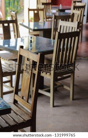 wooden chair and table - stock photo