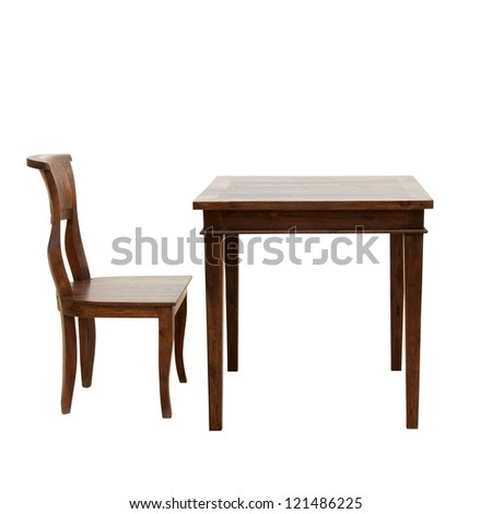 wooden chair and table isolated on white background - stock photo