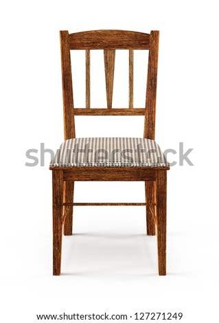 wooden chair - 3d illustration isolated on white - stock photo