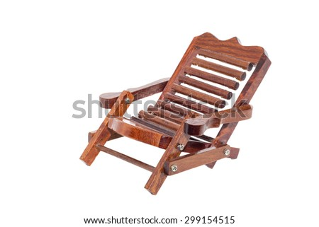 Wooden chair for relaxing on white background.