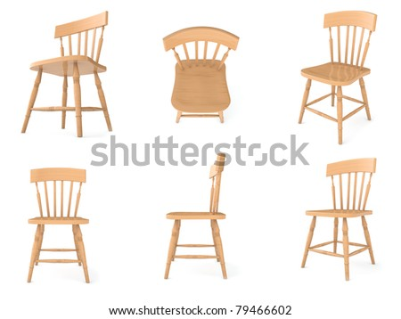 wooden chair in different angles - stock photo