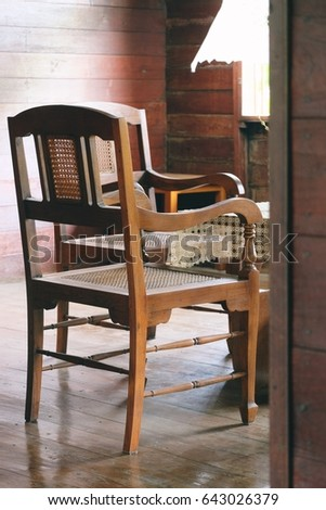 Wooden chair in vintage old house