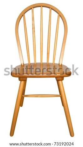 Wooden chair isolated on the white background. Clipping path included. - stock photo