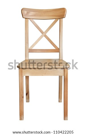 Wooden chair, isolated on white background - stock photo