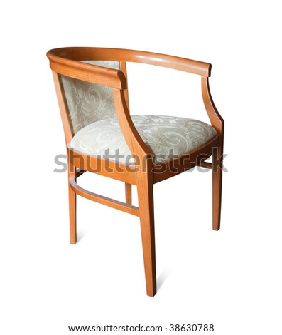 Wooden  chair. Isolated on white with clipping path - stock photo