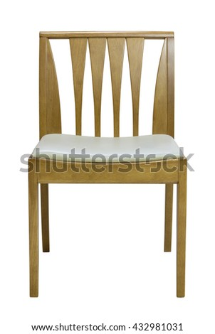wooden chair isolated on white with clipping path - stock photo