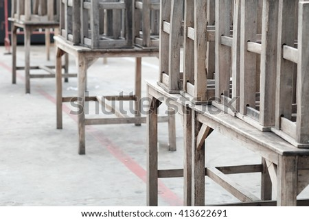wooden chair on wooden table