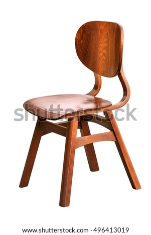 Wooden Chair over the White Background