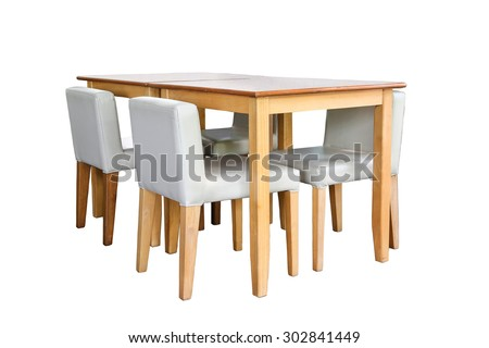wooden chairs and table isolated on white background - stock photo
