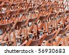 Wooden chairs before concert (pattern / empty / no people) - stock photo