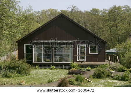 wooden chalet on the norfolk broads