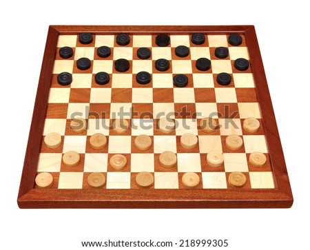 wooden checkerboard with checkers spaced isolated on white - stock photo