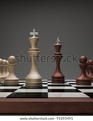 wooden Chess kings on a blackboard High resolution. 3D image - stock photo