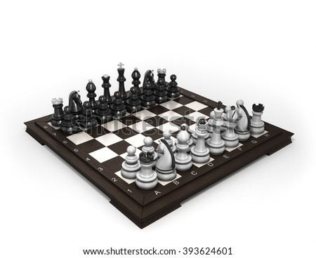 wooden chess laid in the original position on the chessboard isolated on white - stock photo