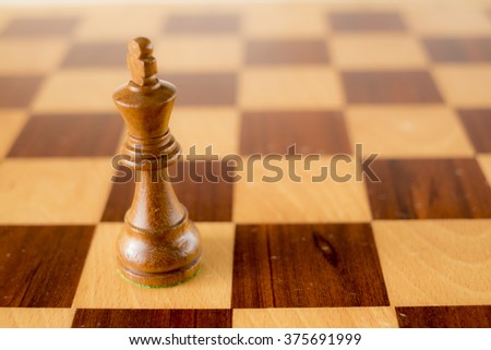 wooden chess set, black king on board