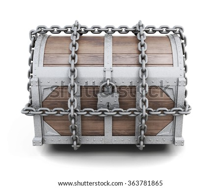 Wooden chest entangled chains isolated on white background. 3d rendering. - stock photo
