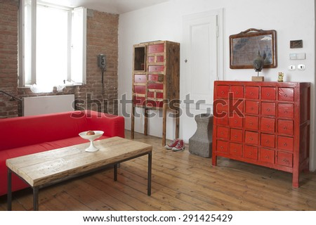 wooden chest of drawer - stock photo