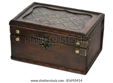 wooden chest with lock isolated on white