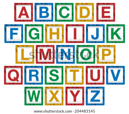 Wooden children's alphabet blocks - Raster Version