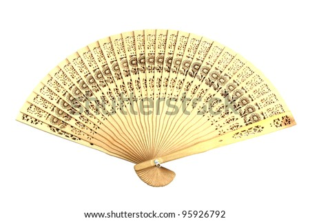 wooden chinese hand fan isolated on white background