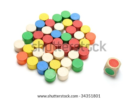 Wooden Chips and Dice on White Background