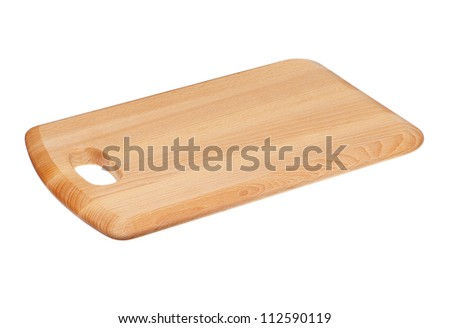 Wooden Choping Board Block Isolated on White - stock photo