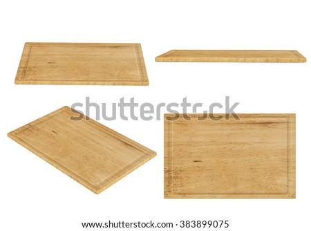 wooden chopping board on white background - stock photo