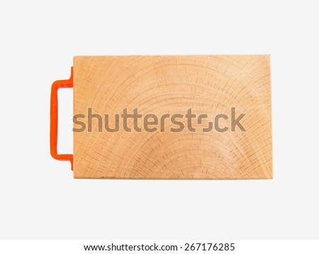 wooden chopping board with plastic handle isolated on white background