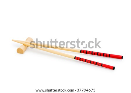Wooden chopsticks isolated on the white