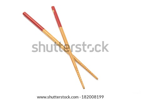 Wooden chopsticks isolated on white background - stock photo